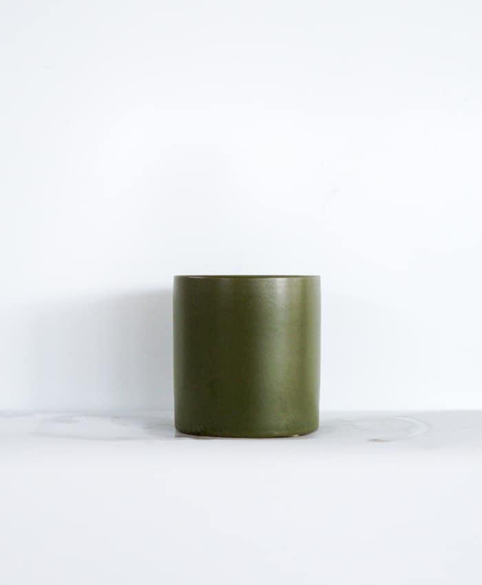 Ceramic Pot, 10cm, Moss Green
