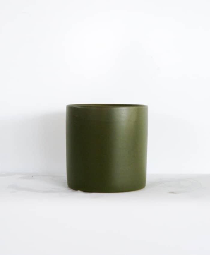 Ceramic Pot, 12cm, Moss Green